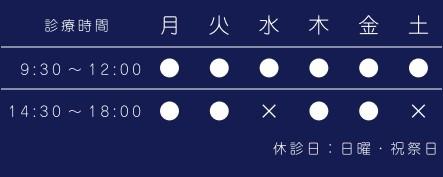 診療時間(9:30~12:00→月~土)、(14:30~18:00→月、火、木、金)、休診(14:30~18:00→水、土)